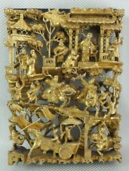 Beautiful Large Antique Chinese Hand Carved And Gilt Battlefield Wood Panel