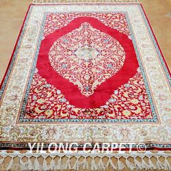 Yilong 4and039x6and039 Red Silk Area Rugs Home Handmade Carpets Tracking Hand Knotted 1193