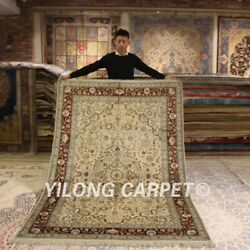 Yilong 5'x8' Antique Handmade Silk Rugs Living Room Hand Knotted Carpets 174ab