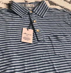 Peter Millar Seaside Wash Polo, Xxl, Splsh, New With Tag Blue Stripes Msrp 115