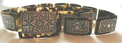 Antique Tortoise Shell Belt Embossed Sterling Silver Panels On Buckle And Links