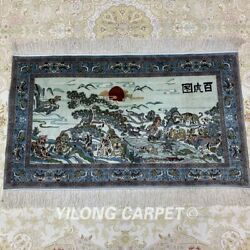 Yilong 2and039x3and039 400line Tigers Tapestry Silk Carpet Lobby Hanging Area Rug 022h