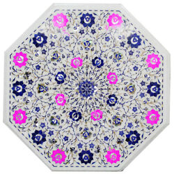 30 X 30 Octagon Shape Decorative White Beautiful Marble Inlay Work Table Top