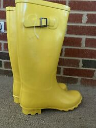 J Crew Outlet Bus Bright Canary Yellow Galoshes Garden Rain Boots Sz 8 ❤️kh11j1