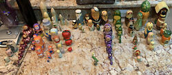 Vintage Handcrafted And Painted Nesting Dolls Rare Complete And Parts Rare 81 Pcs