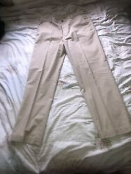 Mens 34w Brooks Trousers 34/32 Brooks Brothers Chinos Designer 346 Cotton Beige