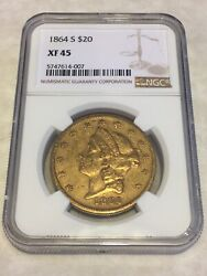1864-s 20 Xf45 Ngc Liberty Double Eagle Gold Coin Typ1 Nicely Struck No Pcgs