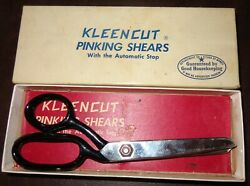 Vintage Kleencut Black Metal Handle Pinking Shears Scissors With Automatic Stop