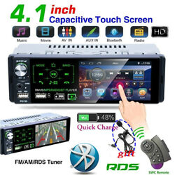 4.1 Single 1 Din Car Stereo Radio Rds Am Fm Bluetooth Touch Screen Aux Usb Tf