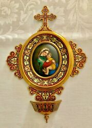 Antique Bronze Large Cross French Champleve Benetier Holy Water Porcelain Plaque