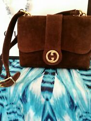 Tom Ford Vintage Made In Italy Espresso Suede Gold Gg Logo Gorgeous