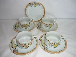 Vintage Childs Tea Set, 4 Cups 5 Saucers, Made In Japan, Handpainted