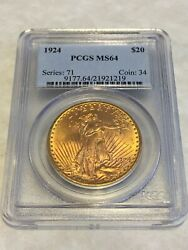 1924 Ms64 Pcgs Saint Gaudens Double Eagle 20 Gold Coin Pq Great Appeal Obl