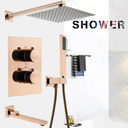 10 Rose Gold Brass Thermostatic Control Switch Mixing Valve Taps Concealed Tub