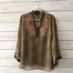 Spenser Jeremy Womens Plus Size 2X Sheer Long Sleeve Silk Leopard Print Blouse