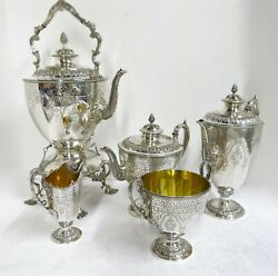 Antique English Sterling Silver Tea & Coffee Set . Martin & Hall. Date 188182
