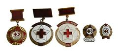 Vintage Set 5 Badges Red Cross Blood Donor Pin Soviet Russian Ussr Variety