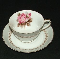 Noritake Rosemont Pattern 5048 Pink Rose Gray China Cup And Saucer Replacement