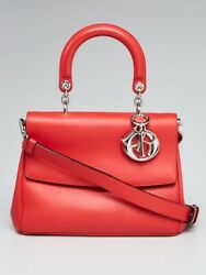 Christian Dior Leather Be Dior Small Flap Red Bag W Receipt-very Good Andauthentic