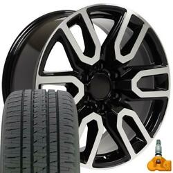 20 5914 Wheels, Tires, Tpms Set Fits Chevy And Gmc At4 Black Machined 20x9