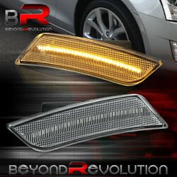 For 2013-2014 Cadillac Ats Front Bumper Amber Led Clear Lens Side Markers Lights