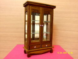Small Display Curio Cabinet Antique Wood Teak Shelf Glass Collectibles Deocor