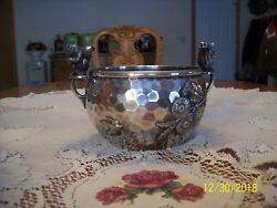 Meriden B. Company Quadruple Plate Silverplate Squirrel Nut Bowl Bird And Floral