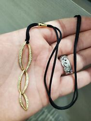 Beautiful Designer 18k Yellow Gold And Diamond Adjustable Necklace On Silk 1.2t.cw