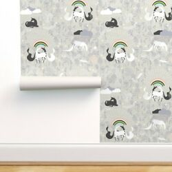 Wallpaper Roll Rainbows Baby Pajama Unicorn Rainbow Love Modern 24in x 27ft