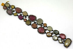 India Vintage Sterling Silver, Natural Ruby, Diamond And 14k Solid Gold Bracelet
