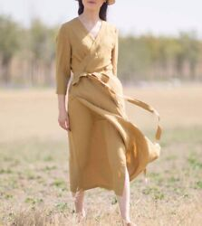 Custom Made To Order V-neck Cinched Waist Linen Party Daily Dress Plus1x-10xy635