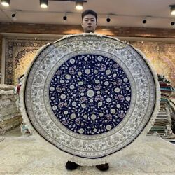 Yilong 4and039x4and039 Blue Round Handwoven Silk Carpet Antistatic Circular Rug 380h