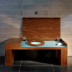 Villeroy And Boch City Life A270 Walnut Smart Bench With Concealed Toilet.