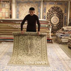 Clearance Yilong 4and039x6and039 Beige Handmade Wool Rug Classic Craft Woolen Carpet 2072