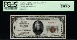 1929 20 The First National Bank Bellaire Ohio Pcgs 58 Ppq Fr.1802-1 Ch1944