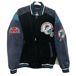 Nfl Miami Dolphins Leather Suede Jacket - G Iii Apparel Size Large