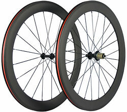 700c 60mm Road Bike Wheels Clincher Carbon Wheelset Front And Rear Wheels Bicycle