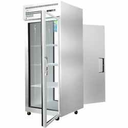 Everest Espt-1g-1s One Section Pass-thru Refrigerator With Solid And Glass Door