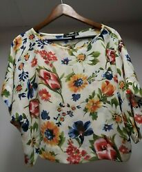 Cute Cream Blue Red Orange FLORAL Women's Size Sleeve Woven Loose Tunic Top  $18.99