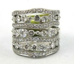 Natural Long Round Diamond Curvy Cluster Ladyand039s Ring Band 14k White Gold 3.16ct