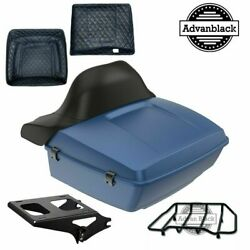 King Tour Pack Luggage Legend Blue Denim Black Hinges And Latch For 97-20 Harley