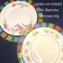 Art Glass Dinner Plate Chargers Set Of 2 Rim With 7 Assorted Color Squares