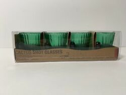 Kikkerland Cactus Shaped Green Shot Glasses Set of 4 Glassware NEW $11.95