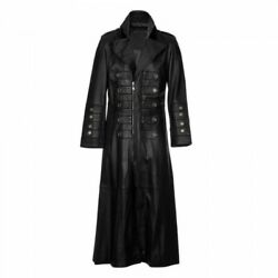 Menand039s Military Steampunk Gothic Leather Trench Coat Jacket Real Leather Coat