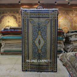 Yilong 3and039x5and039 Blue Rose Handknotted Silk Carpet Indoor Handwoven Area Rug Z309a
