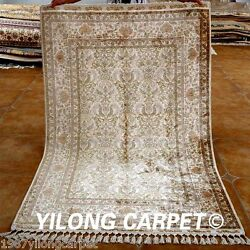 Yilong 4and039x6.2and039 Handmade Silk Accent Rugs Classic Hand Knotted Shag Carpets 1535