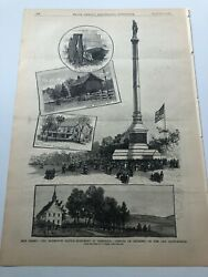 1884 Leslies Antique Print Monmouth Battlefield Monument At Freehold Nj 7220