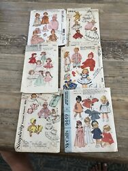 Vintage 1960andrsquos Doll Clothes Sewing Patterns Set Of 6 Packs