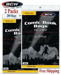 200 Bcw Clear Poly Bags For Golden Age Comic Books 2 Mil Acid Free Safe Storage