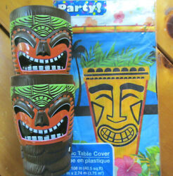 Tiki Time Plastic Tablecover 54 X 108 W Two Tiki Cups Flowers Multicolor D